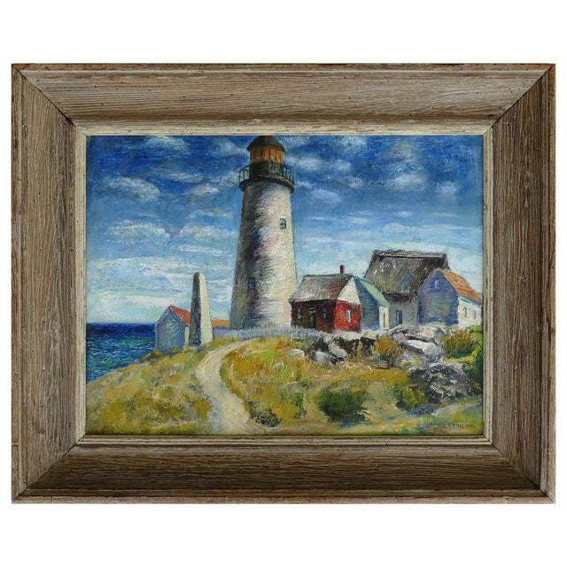 Contemporary Samuel Brecher Oil Painting of Pemaquid Lighthouse E Boothbay, Me For Sale - Image 10 of 10