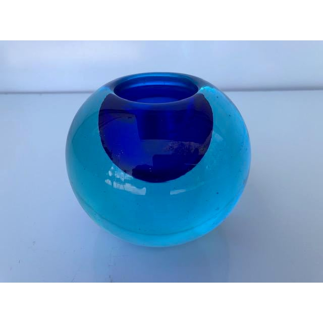 1970s Blue Glass Sommerso Paper Weight Attributed to Flavio Poli For Sale - Image 5 of 8
