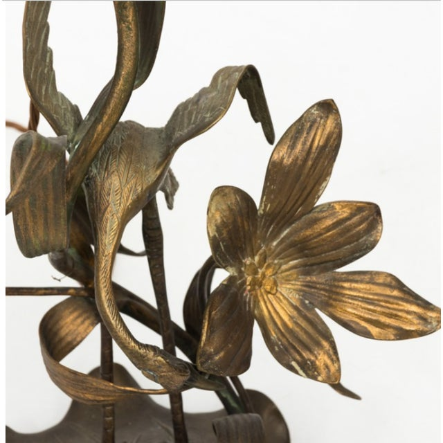 Art Nouveau Brass Crane Lamp Circa 1910 With Shade For Sale - Image 3 of 8