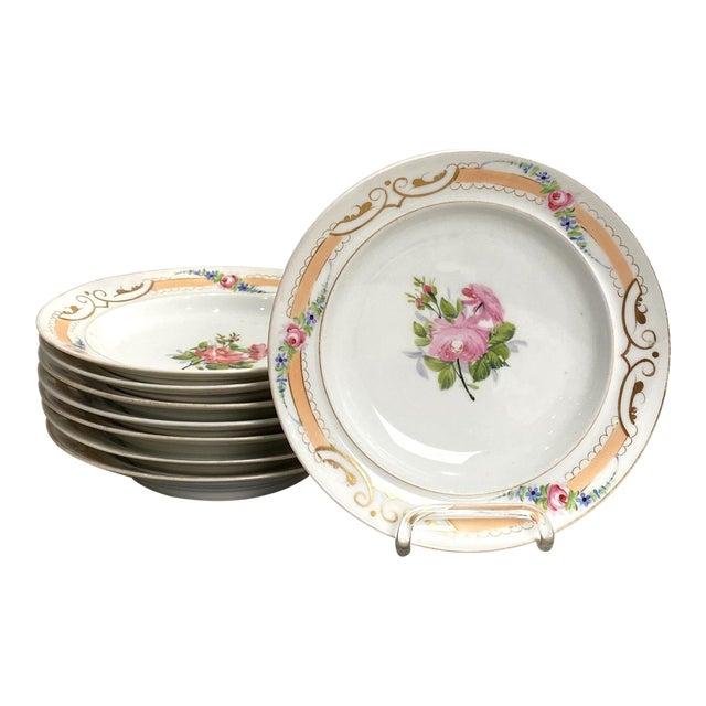Set of 8 Paris Porcelain Soup Bowls, France 19th Century For Sale