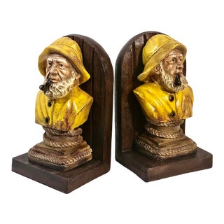 Vintage Nautical Sailboat Ship Captain Book Ends Late 20th Century Pair For Sale