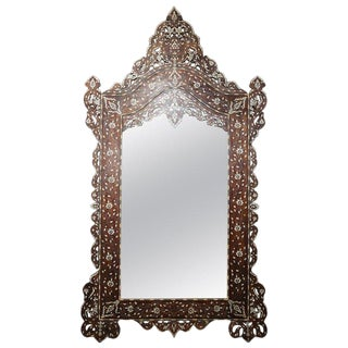 1900s Syrian Mirror Inlaid With Mother-Of-Pearl and Camel Bone For Sale