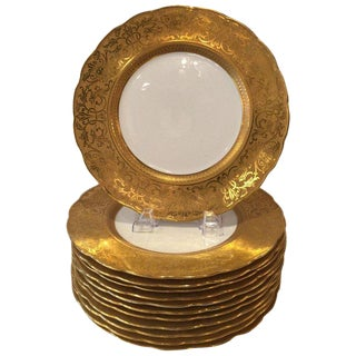 1920s Gold Embossed Figural Head Service Plates - Set of 10 For Sale