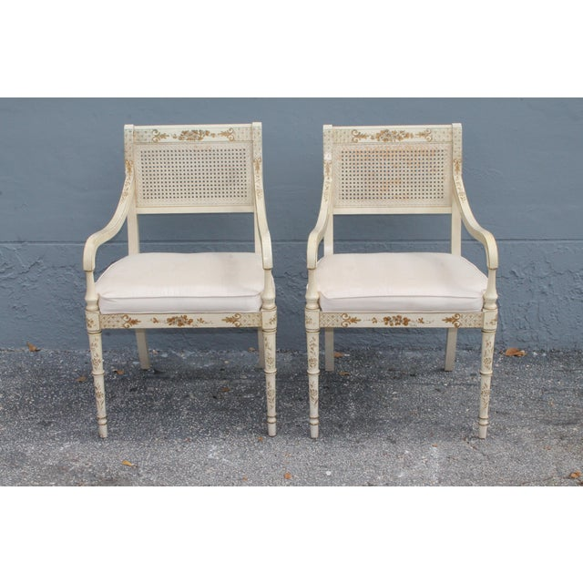 Vintage Mid Century Taffeta Faux Bamboo Caned Armchairs- A Pair For Sale - Image 13 of 13