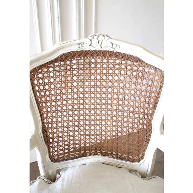 Louis XV 20th Century Vintage Painted Cane Back Open Arm Chairs- A Pair For Sale - Image 3 of 13