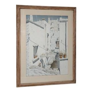 Original Watercolor Mediterranean Courtyard by Banks C.1964 For Sale