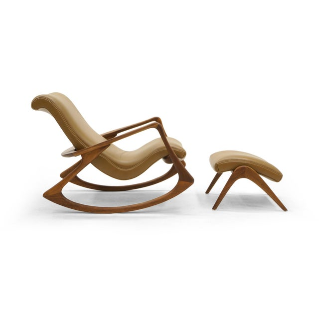 Vladimir Kagan Contour Rocker with Ottoman, Holly Hunt Leather, Excellent - Image 2 of 11