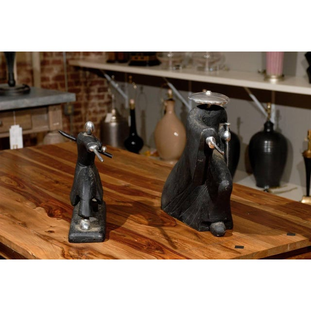Asian Vintage Modern Japanese Samurai Statues - A Pair For Sale - Image 3 of 6