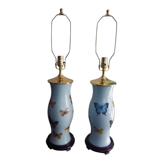 Hand Designed Decoupaged Butterfly Glass Lamps With Blue - a Pair For Sale