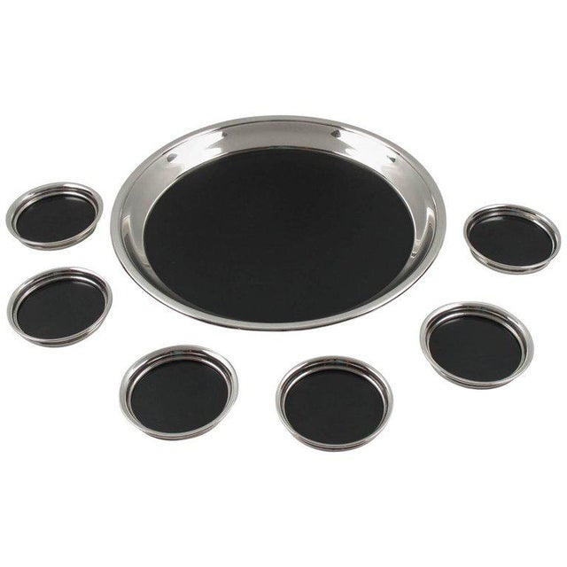 F. B. Rogers Barware Serving Tray and Coasters Silver Plate and Bakelite For Sale - Image 9 of 9