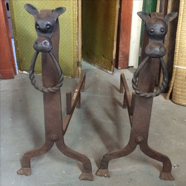 Wrought Iron Bull Figure Andirons - A Pair - Image 2 of 9