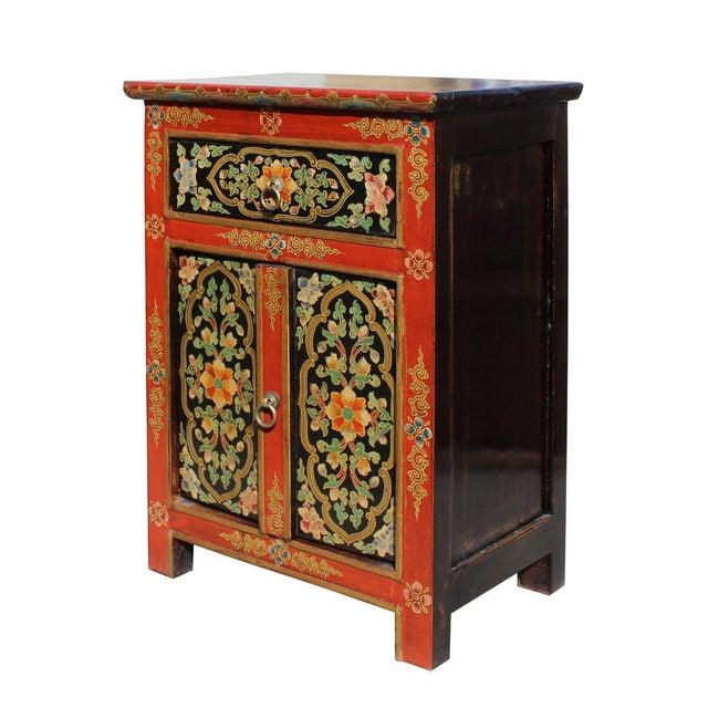 Tibetan Orange Red Black Floral End Table Nightstand For Sale - Image 4 of 6