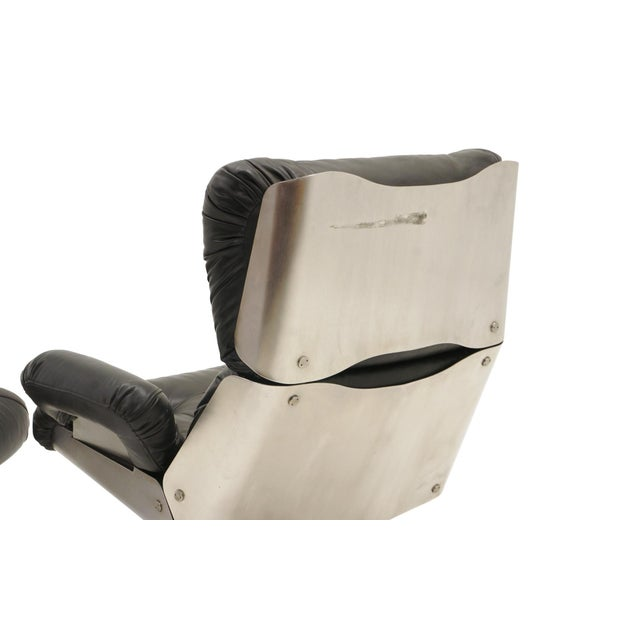 French Black Vinyl and Cast Aluminum Lounge Swivel Chair & Ottoman For Sale In Kansas City - Image 6 of 9