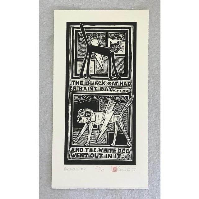 "Original ""Parable #2"" Black Cat, White Dog Hand Pulled Linocut Print For Sale - Image 12 of 12"