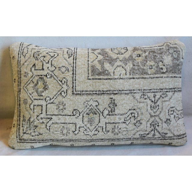 """Abstract Antique Soumak Carpet Wool Feather/Down Pillows 26"""" X 16"""" - Pair For Sale - Image 3 of 13"""