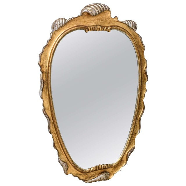 Hollywood Regency Style Gold and Silver Gilt-Wood Mirror For Sale - Image 10 of 10
