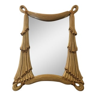 Large Scale Nouveau Style Drape Mirror For Sale