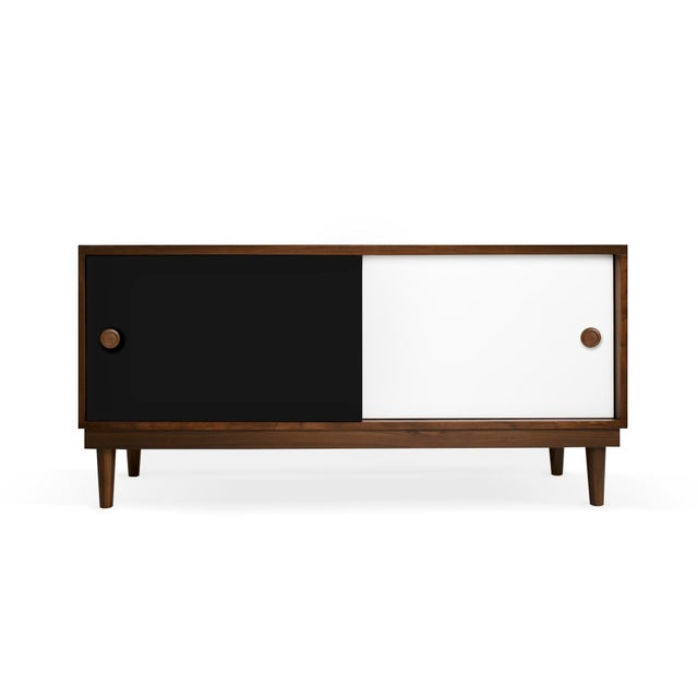 Modern Nico & Yeye Luke Modern Kids Credenza Console Solid Walnut and Walnut Veneers Black For Sale - Image 3 of 3