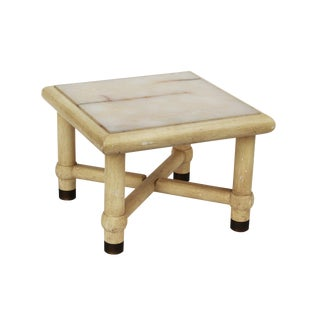 Side Table with X Base and Onyx Top in the Style of Karl Springer For Sale