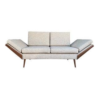 Vintage Gondola Oatmeal Tweed Sofa For Sale