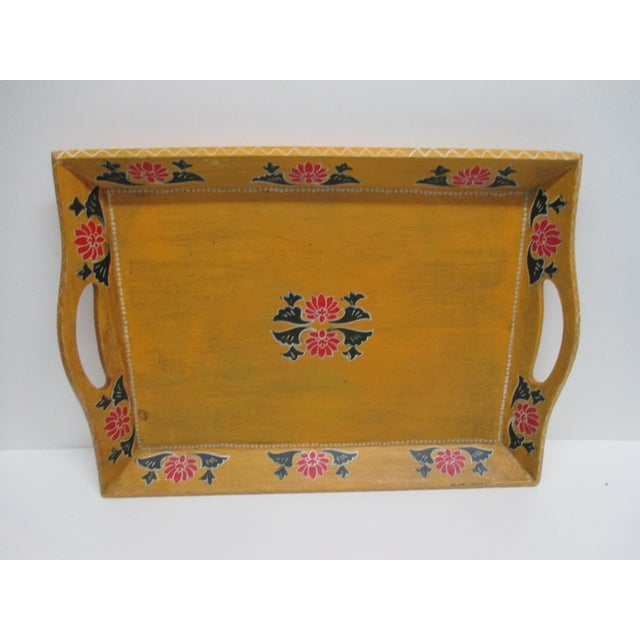 Vintage Floral Wood Hand Painted Serving Tray With Handles For Sale In Miami - Image 6 of 6