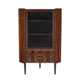 Rosewood Danish Mid-Century Modern Corner Cabinet Glass Door Three Drawers For Sale