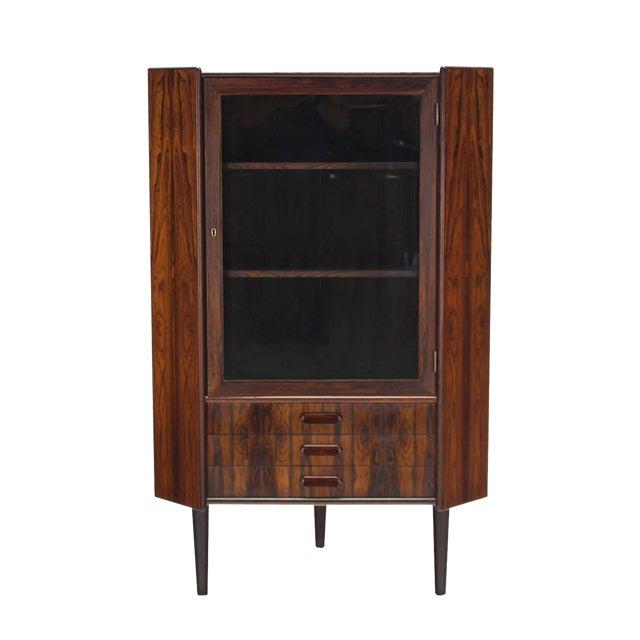 Luxury Rosewood Danish Mid Century Modern Corner Cabinet Glass Door