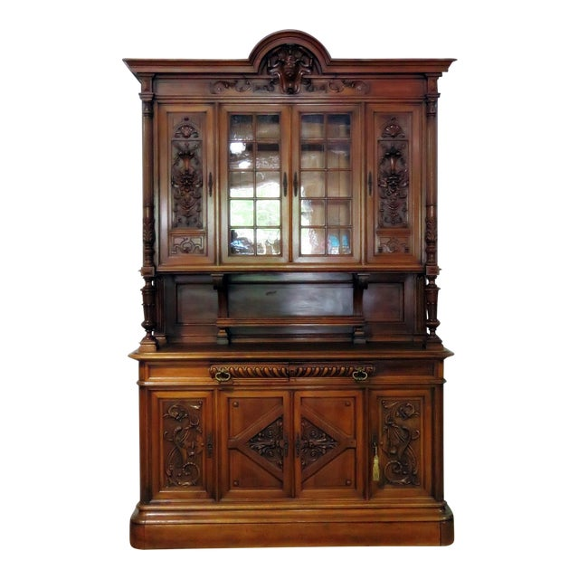 Early 20th Century Antique Renaissance Style China Cabinet - 2 Pieces For Sale