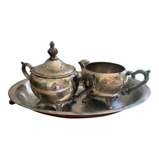 Antique Silver Cream & Sugar Set- 3 Pieces For Sale