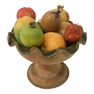 1970s Vintage Tropical Fruit & Italian Clay Topiary - 10 Pieces For Sale