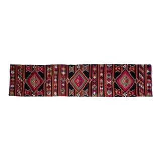 """Hall Stair Rug, Tribal Flat Woven Turkish Striped Kilim Runner 2'9"""" X 12' For Sale"""
