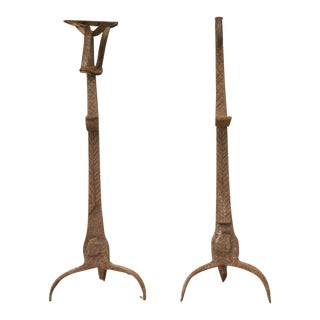 Rustic 18th Century French Hand-Wrought Iron Andirons - a Pair