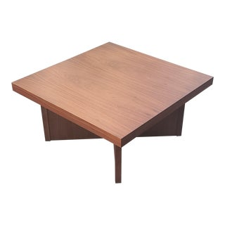 1960s Mid Century Modern Walnut Cross Base Square Coffee Table For Sale