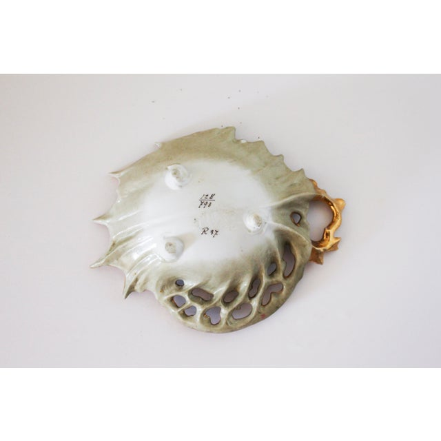 Baroque Vintage Gold Painted Shell Ring Dish For Sale - Image 3 of 4