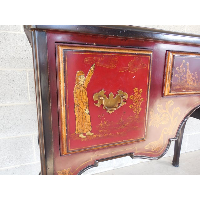 Maitland Smith Chinoiserie Hand Paint Decorated Marble Top Console Sideboard For Sale - Image 12 of 13