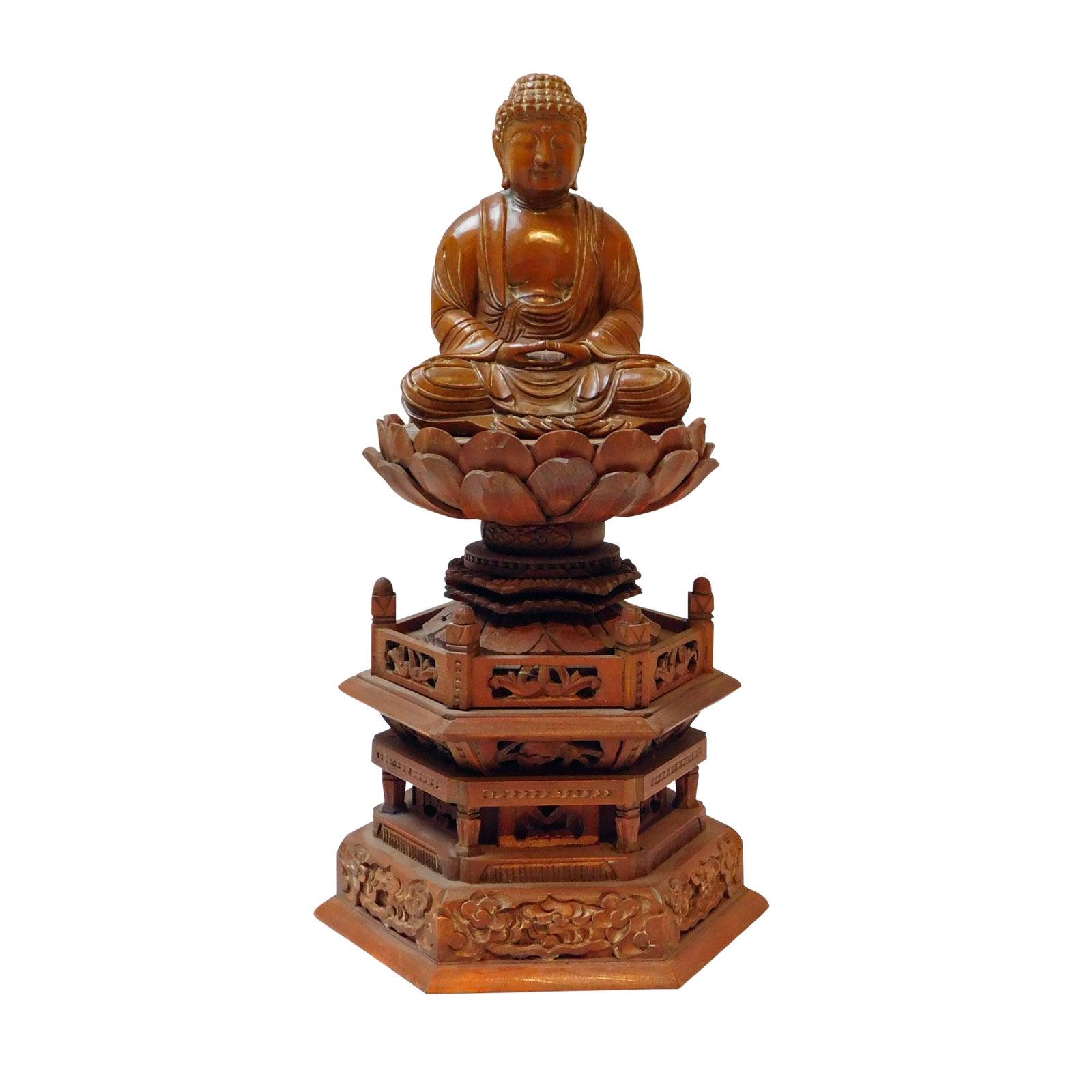Boxwood buddha statue on tall lotus flower pagoda base chairish izmirmasajfo