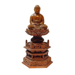 Boxwood Buddha Statue On Tall Lotus Flower Pagoda Base For Sale