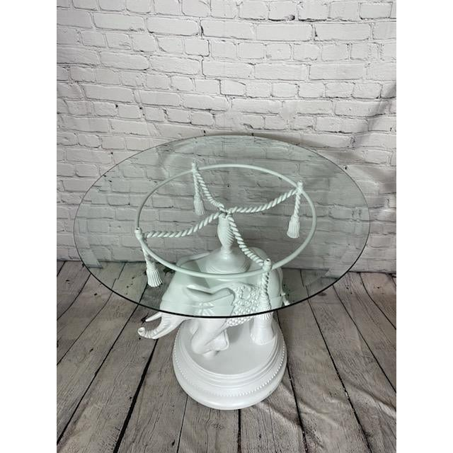 Vintage Glass White Elephant Side Table For Sale - Image 4 of 6