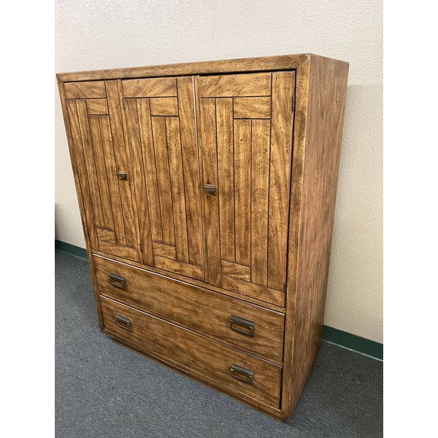 Design Plus Gallery presents a 1970's Campaign Chest by Drexel Heritage. From the Woodbriar Collection. Features drawers,...