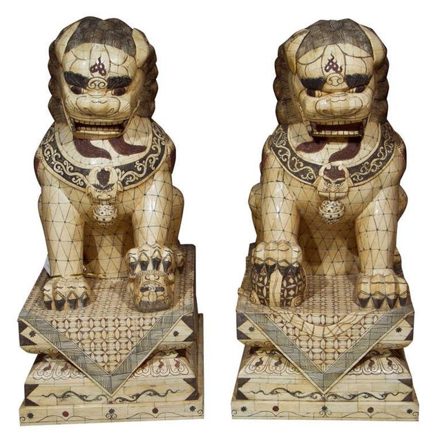 Pair of Palace Sized Bone Foo Dogs Sculptures For Sale - Image 11 of 11