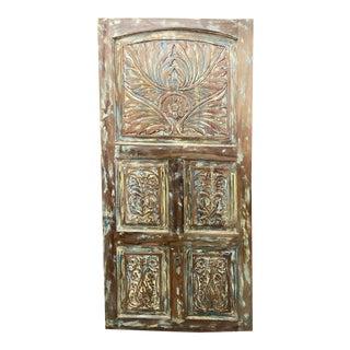 Vintage Carved Door Panel, Floral Carved Teak Wood Panel Artistic Carved Barn Door Reclaimed Farmhouse Interior Door For Sale