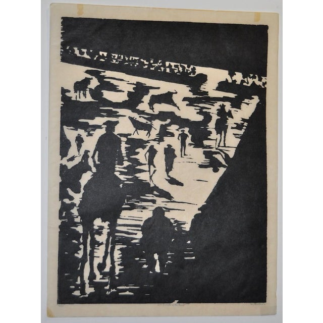 """Mid Century """"Don Quixote at the Paseo"""" Woodcut by Michael Christiana C.1961 Fabulous early 60s woodcut by noted artist..."""
