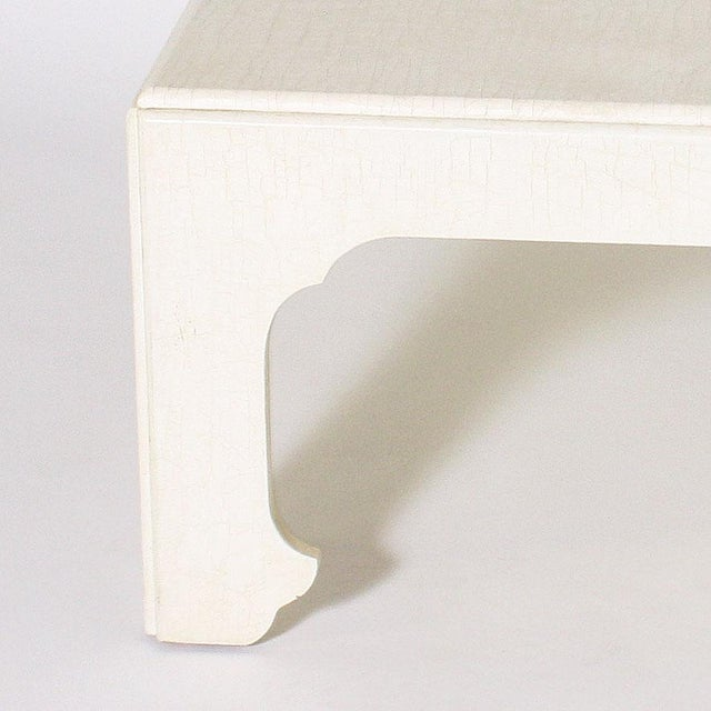 White ivory lacquered crackle coffee table , c.1970 $3500
