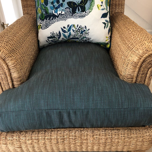 Ralph Lauren Herring Net Wicker Armchair With Upholstered Seat and Loose Back Pillow For Sale In San Francisco - Image 6 of 8