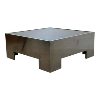 Mid Century Modern Square Brushed Aluminum & Smoked Glass Coffee Table 1970s For Sale