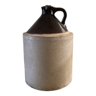 Vintage Brown Glazed Stoneware Jug For Sale