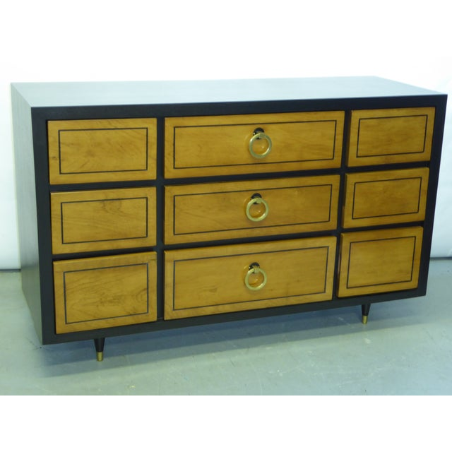 Brown 1950s Modern Ebonized Mahogany Dresser Credenza with Brass Ring Pulls For Sale - Image 8 of 11