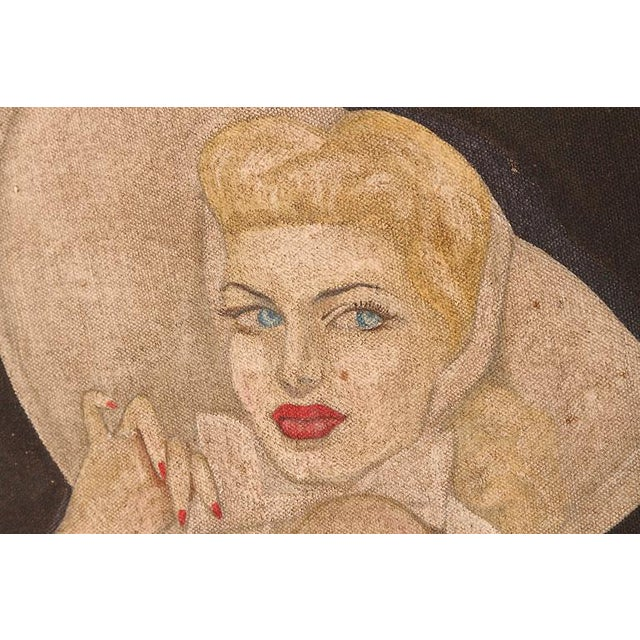 "Large Art Deco ""Trench Art"" Pin-Up Painting, Oil on Heavy Cloth, Signed For Sale In Dallas - Image 6 of 11"