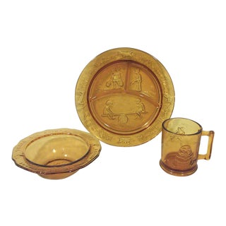 1970s Amber Glass Toddler Dish Set-Three Pieces For Sale
