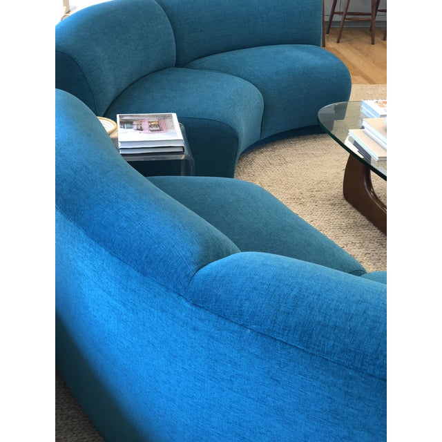 Vintage Turquoise Semi Circle Sofa - Image 8 of 9